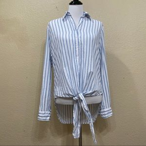 Faithful The Brand Blue Striped Button Down Size 6